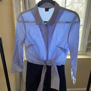Tahari blue button up dress